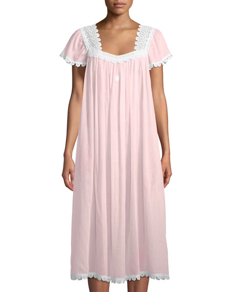 Celestine Donata Short-Sleeve Long Nightgown