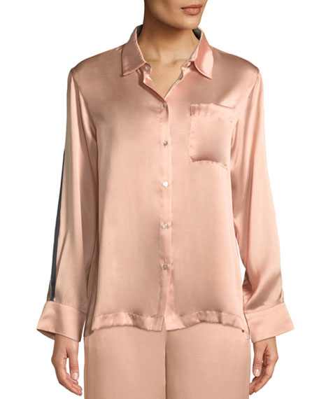 Asceno Bold-Stripe Long-Sleeve Silk Pajama Top