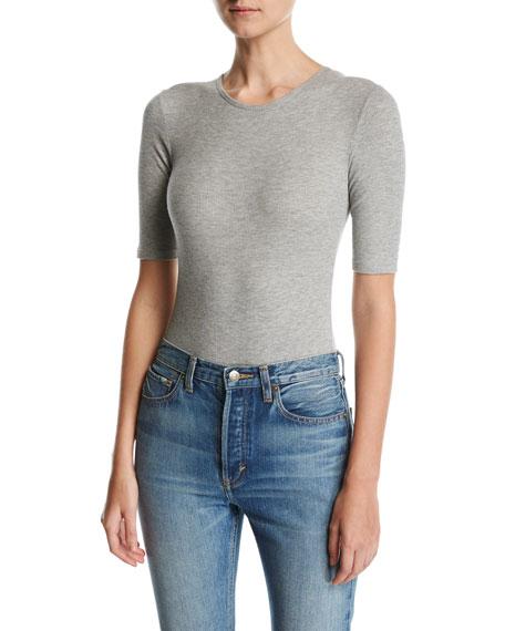Elbow Sleeve Ribbed Bodysuit