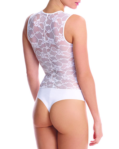 Sheer Lace-Top Bodysuit