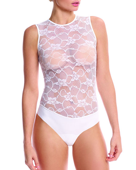 Commando Sheer Lace-Top Bodysuit