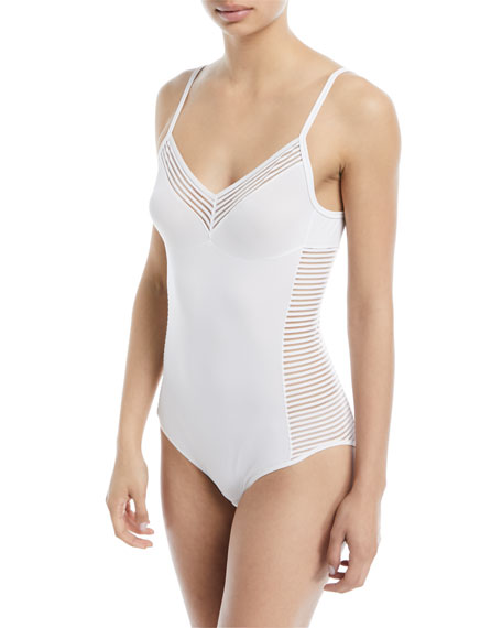 Cara Striped-Panel Bodysuit