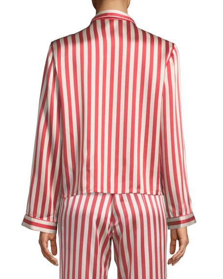 Americana Ruthie Long-Sleeve Striped Silk Pajama Top