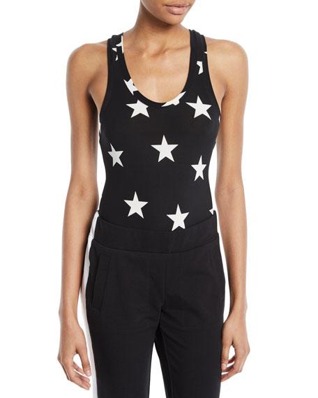 Star-Print Racerback Bodysuit