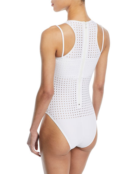 Violette Perforated One-Piece Bodysuit