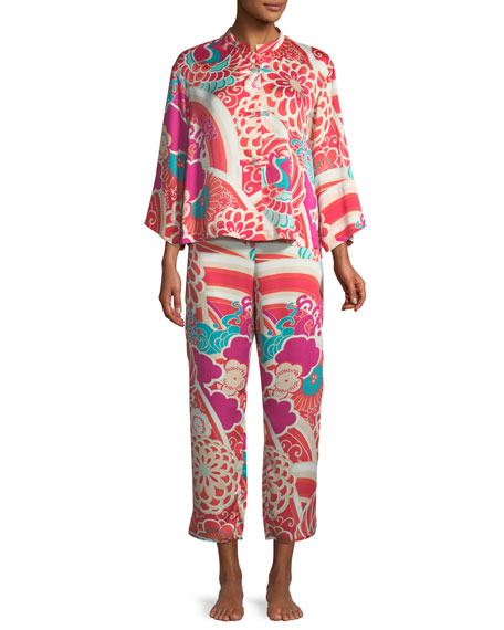Obi Crane Satin Pajama Set