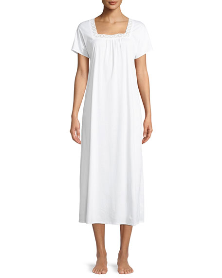 Hazel Lace-Trim Long Short-Sleeve Nightgown