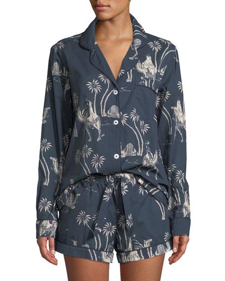Desmond & Dempsey Camel Cotton Classic Short Pajama