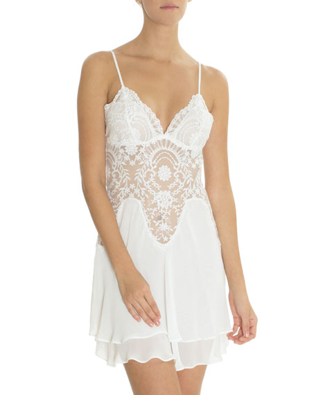JONQUIL Rania Lace-Inset Chiffon Chemise in Ivory