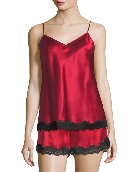 Lace-Trimmed Silk Lounge Tank