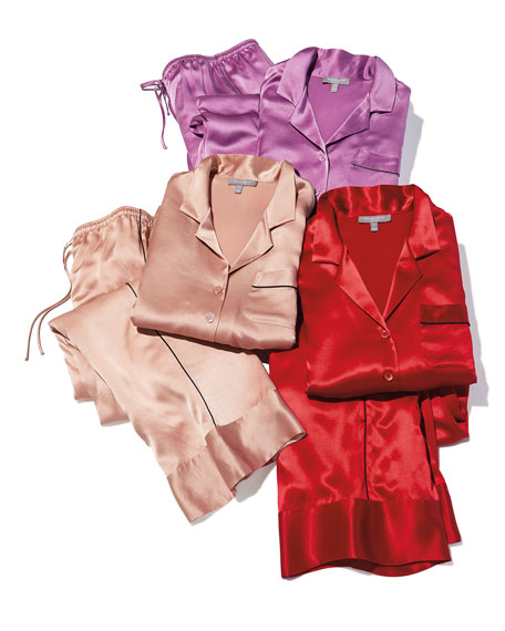 Neiman Marcus Basic Silk PJs Set