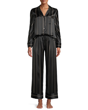 e9731c4cd Neiman Marcus Pinstripe Two-Piece Pinstripe Silk Pajama Set