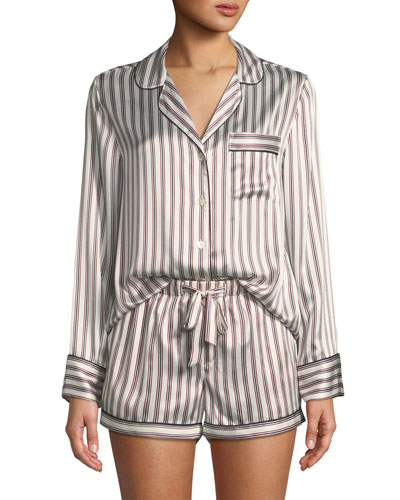 Candy Stripe Silk Short Pajama Set