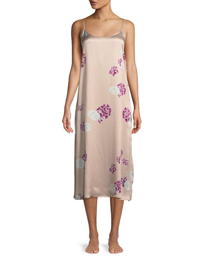 Floral-Print Silk Nightgown