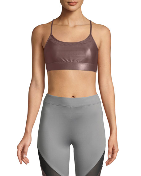 Image 1 of 2: Koral Pacifica Low-Impact Racerback Metallic Sports Bra