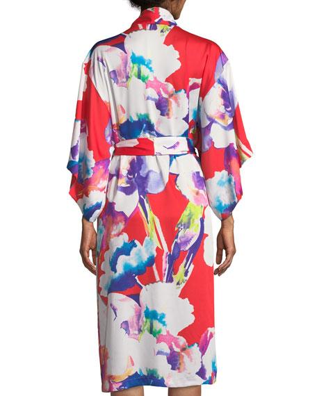 Tahiti Floral-Print Long Robe