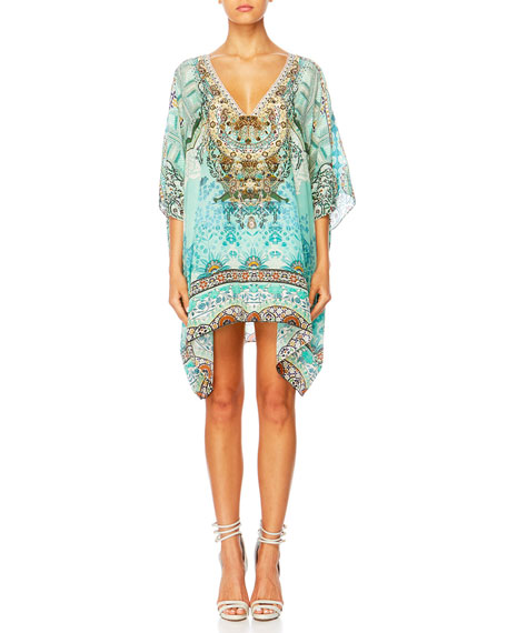 Camilla The Long Way Home Printed Embellished Caftan