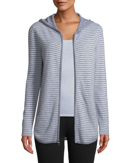 Neiman Marcus Cashmere Collection Cashmere Zip-Front Striped