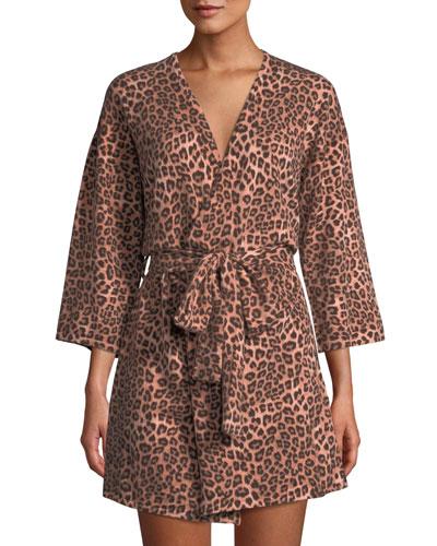Cashmere Leopard-Pattern Short Robe