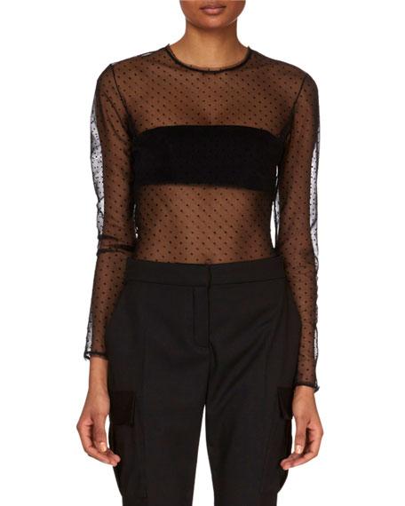 Long-Sleeve Sheer Dotted Bodysuit