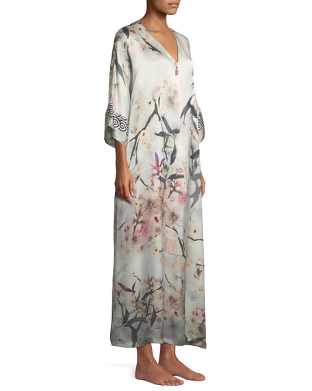 Nightingale Lined Zip-Front Silk Caftan
