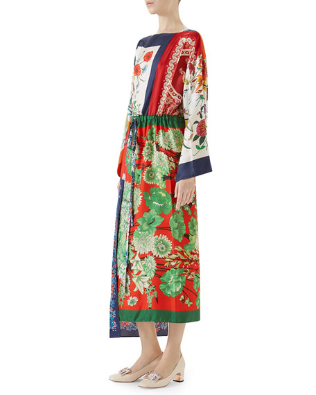 Long-Sleeve Multipattern Floral-Print Patchwork Silk Caftan with Uneven Hem