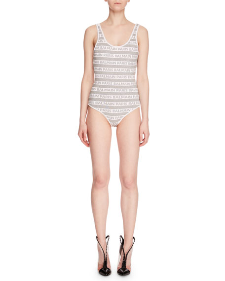Scoop-Neck Logo-Stripe Bodysuit