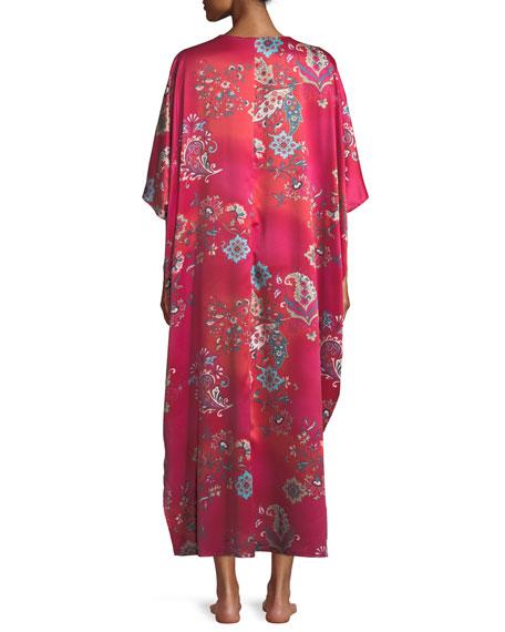 Buddakan Floral-Print Charmeuse Caftan, Plus Size
