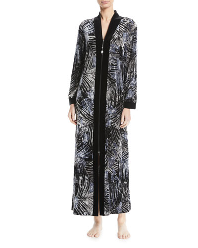 Silver-Print Zip-Front Velvet Lounge Caftan with Pockets