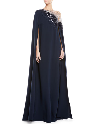Illusion Sequin-Embroidered Cape-Back Evening Gown