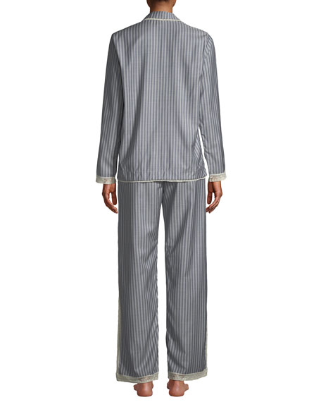 Image 2 of 3: Ines Striped Wool Classic Pajama Set