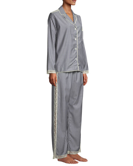 Image 3 of 3: Ines Striped Wool Classic Pajama Set
