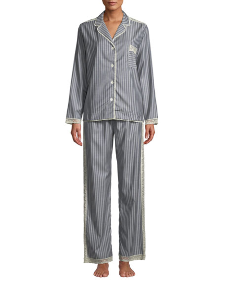 Image 1 of 3: Ines Striped Wool Classic Pajama Set