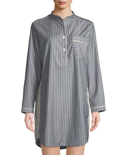 Tess Striped Wool Sleepshirt
