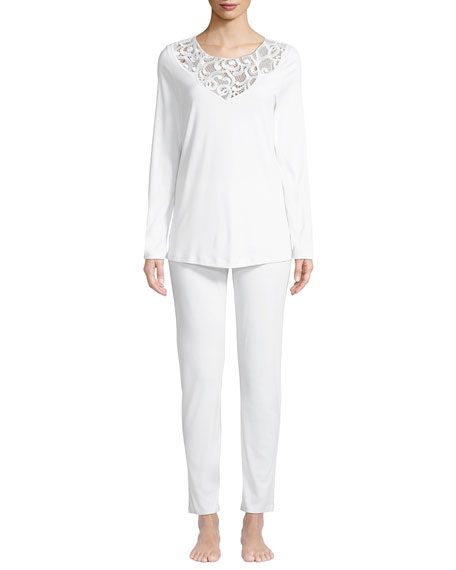 Hanro Ella Lace-Trim Long Pajama Set