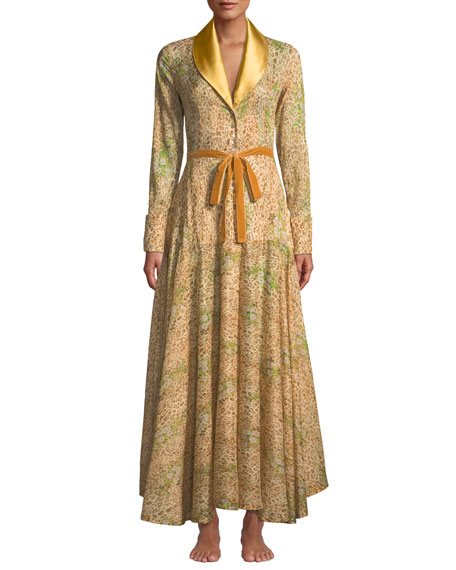 Image 1 of 3: Feline Leopard Floral Lace Long Robe