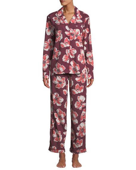 Desmond & Dempsey Floral-Print Long Pajama Set
