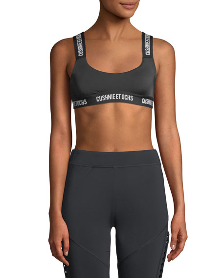 Cecile Scoop-Neck Performance Sports Bra with Logo Web