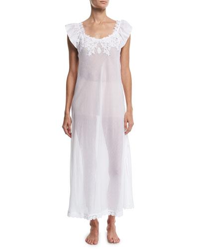 Princesa Floral-Applique Cap-Sleeve Nightgown