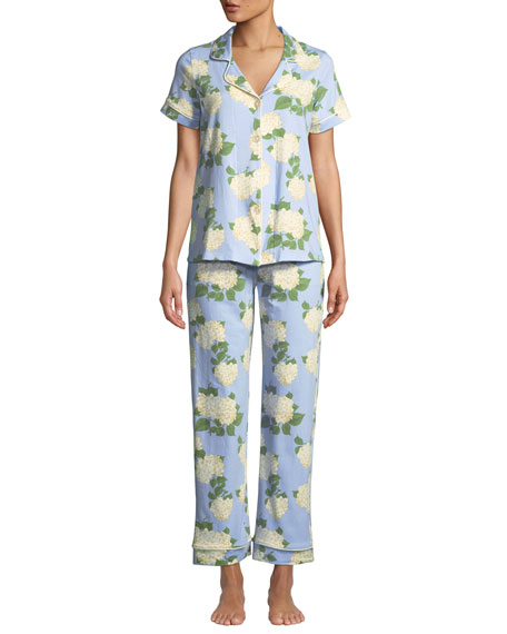 Hydrangea Short-Sleeve Pajama Set in Multi Pattern