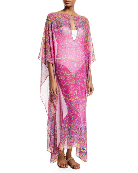 Etro Printed Silk Boat-Neck Long Caftan Coverup