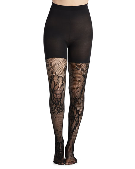 Spanx Mid-Thigh Shaping Floral-Fishnet Tights