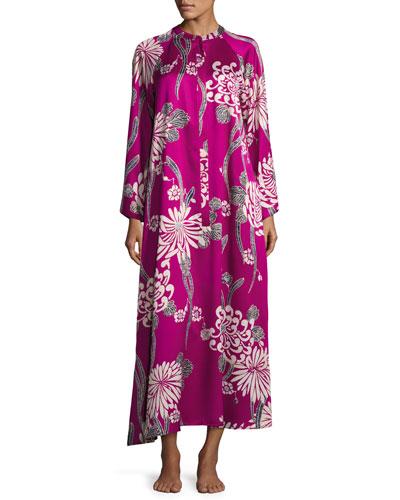 Aziome Floral-Print Zip Lounge Caftan  Plus Size