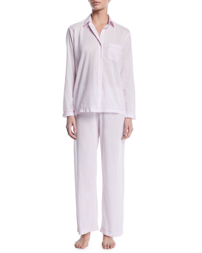 Classic Two-Piece Pajama Set with Matching Lingerie Bag