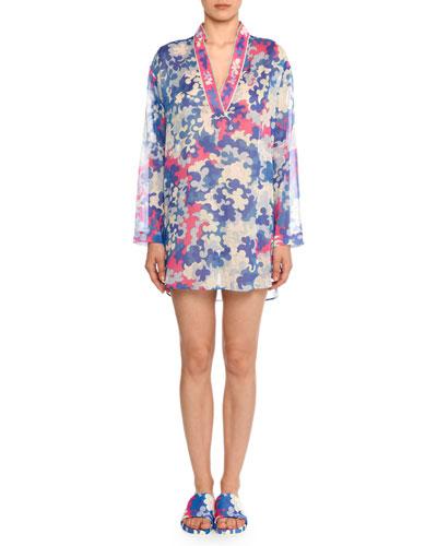 V-Neck Long-Sleeve Hydrangea-Print Cotton Gauze Kaftan