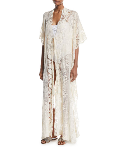 Miguelina Valentina Tie-Front Tropical Scallop Lace Long Caftan
