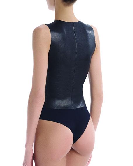 Commando Faux-Leather V-Neck Thong-Back Bodysuit