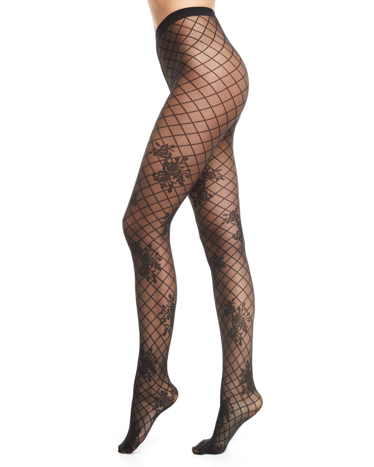 a779337aa Wolford Helena Net-Pattern Tights with Floral Motif