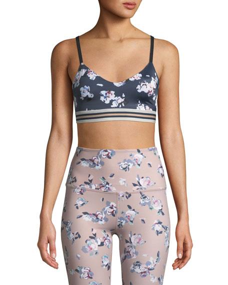 Beyond Yoga One More Stripe Floral-Print Sports Bra