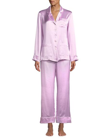 Olivia Von Halle Coco Flamingo Classic Silk  Pajama Set